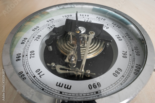 Analog barometer in classical style for measuring air pressure Canvas Print