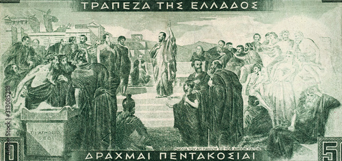 Fotografie, Obraz Apostle Paul in Athens on Greece 500 drachma (1955) banknote close up