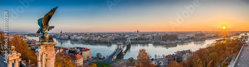 Budapest, Hungary - Aerial panoramic view of Budapest, taken from Buda Castle Royal Palace at autumn sunrise Wallpaper Mural