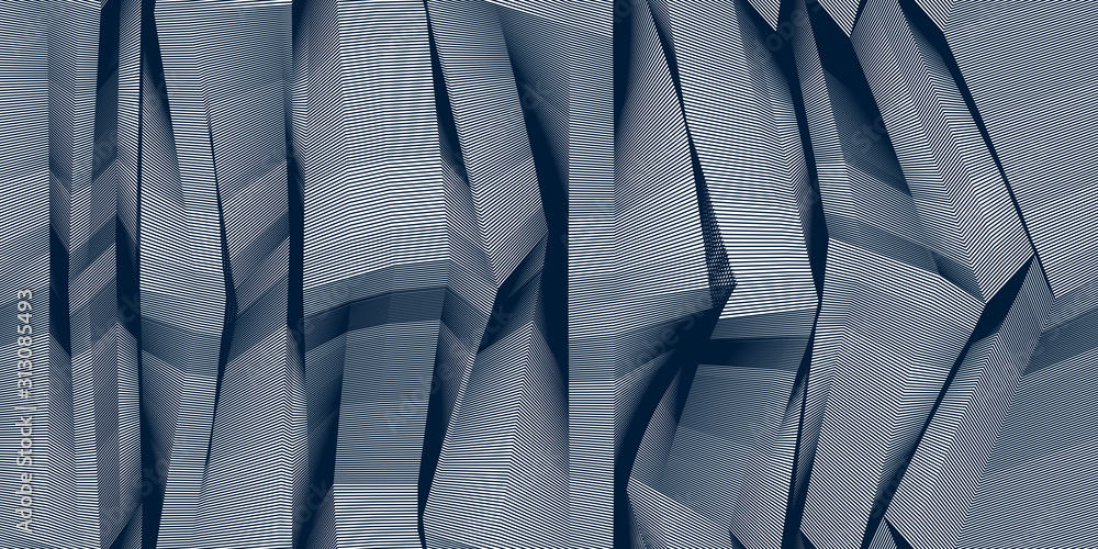Fototapeta Abstract lines seamless pattern with optical illusion, vector background with parallel stripes op art, lined design minimalistic wallpaper or website background.