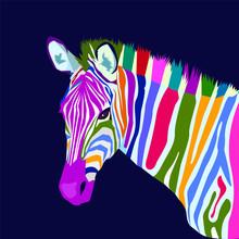 Colorful Zebra Pop Art Portrai...