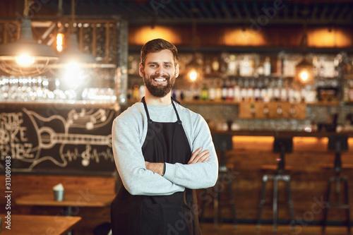 Bearded smiling barman waiter standing on the background of a bar Fototapeta