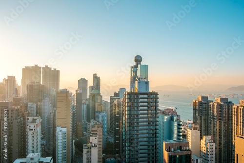 Hong Kong city skyline , skyscraper and blue sky copy space -