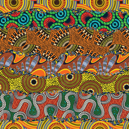 African style fabric patchwork background abstract vector seamless pattern Wall mural