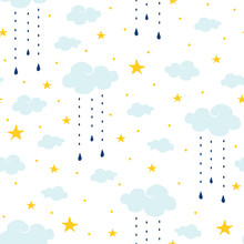 Seamless Vector Pattern With Clouds, Rain And Stars On White Background. Gentle Night Sky Children Wallpaper Design. Ideal For Fabric, Baby Clothes, Children Room Decoration.