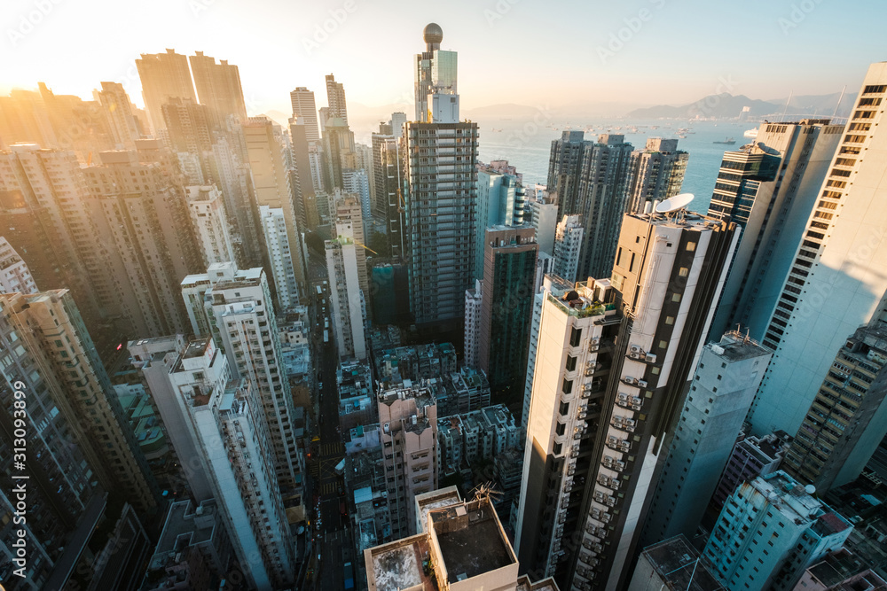 Fototapeta City aerial of HongKong, skyscraper in downtown Hong Kong -