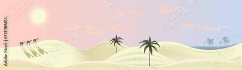 Fotografija Nature panorama illustrating bright yellow desert under the sun