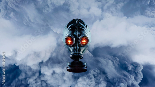 Man in the mask among the gas fumes Canvas Print