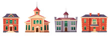 Urban Retro Colonial Style Building Cartoon Vector Set Illustration. Old Residential And Government Buildings, 18 Century Victorian Houses Isolated On White Background