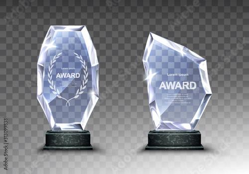 Fototapeta Glass award trophy or winner prize realistic vector illustration