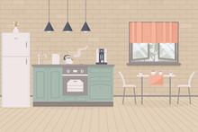 Kitchen Home Cute Country Interior In Provence Style. Indoor Furniture And Equipment: Fridge And Stove,cupboard And Shelves, Table, Cups Of Tea,kettle,coffee Machine, Sink,faucet.Vector Illustration