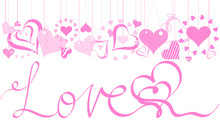 Pink Valentines Hearts With Lo...