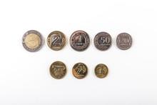 Komplet Monet Polski Złoty Na Białym Tle