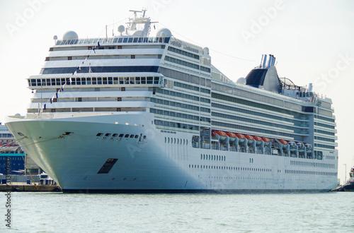 Modern Italian luxury cruise ship in port of Venice in Italy ready for Mediterra Canvas Print
