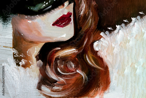 Beautiful woman with red hair and blue eyes and a mask and dress, illustration p Canvas Print