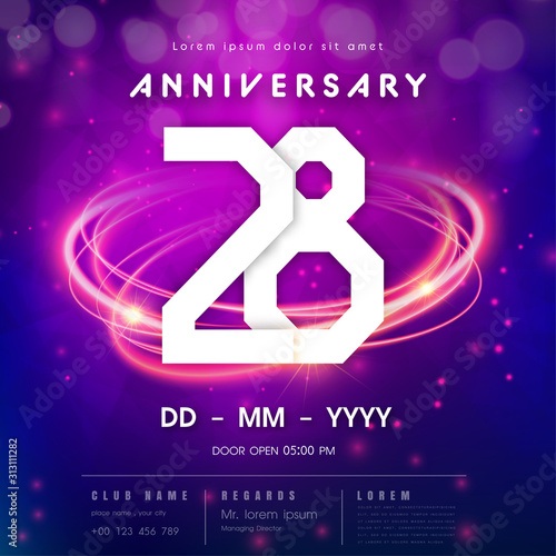 Papel de parede  28 years anniversary logo template on purple Abstract futuristic space background