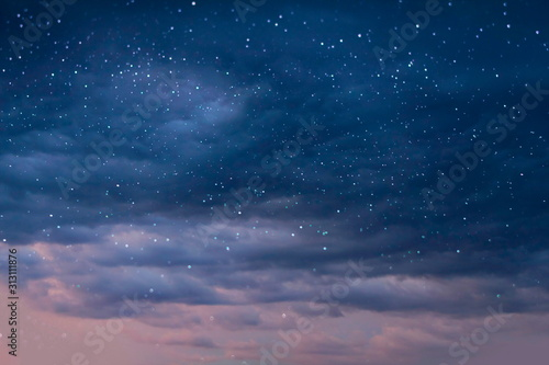 Valokuva summer night starry sky blue nature background landscape