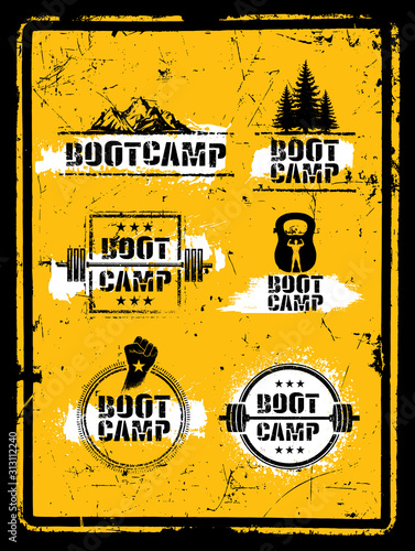 Bootcamp Fitness Workout Sport Creative Strong Sign Set. Vector Rough Typography Grunge Design Elements