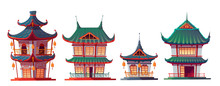 Chinese House Building Cartoon Vector Illustration. Traditional China Or Japan Architecture, Characteristic City Buildings, Pagoda, Religious Temple Or Palace, Isolated On White Background