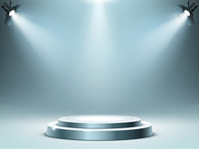 Round Podium Or Stage In Rays Of Spotlights, Realistic Vector Illustration. Pedestal For Winner Or Award Ceremony, Empty Platform For Presentation, Performance Or Show At Night Club, Soon Coming