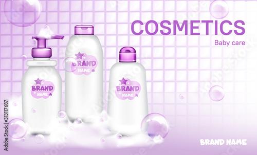 Tablou Canvas Baby cosmetic bottle design in bathroom realistic vector