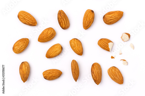Top view Almonds isolated on white background