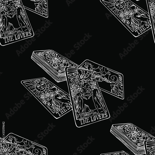 Photo Vector seamless pattern in chalk style : hand drawn linear white tarot cards on black