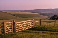 Rural Landscape With Fence And...