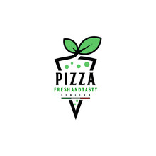 Pizza Fresh And Leaf Organic Logo Design Vector