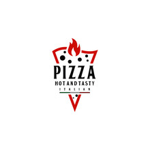Hot Pizza Fresh And Flame Spicy Logo Design Vector