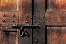 Old Lock On Wooden Door Close-...