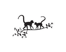 Two Monkeys On Branch, Vector. Monkeys Silhouettes On Tree  Illustration. Wall Artwork, Wall Decals. Scandinavian Minimalist Poster Design Isolated On White Background. Minimalism Background.