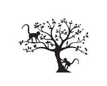 Two Monkeys On Tree, Vector. M...