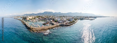 Canvastavla Panoramic Aerial view of Kyrenia sea port and old town, Northern Cyprus