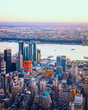 Aerial panoramic view to Downtown Manhattan and Lower Manhattan New York, USA. Skyline with skyscrapers. New Jersey City. American architecture building. Panorama of NYC. Manhattan West. Hudson River