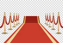 Red Carpet On Stairs With Red ...