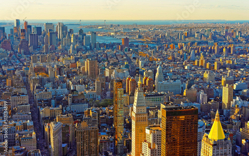 Fototapety, obrazy: Aerial panoramic view on Skyline with Skyscrapers in Downtown and Lower Manhattan, New York City, America. USA. American architecture building. Panorama of Metropolis NYC. Metropolitan Cityscape