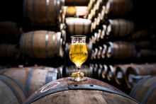 Beer Barrels With Glass Of Cra...