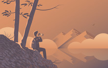 A Man Travels With A Camera. Sits On The Shore Of A Wild Lake Under The Trees. In The Distance Are Beautiful Mountains And Fog. Vector Illustration.
