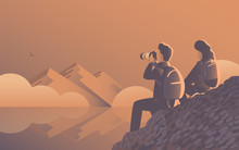 A Man And A Woman Travel Through The Wild With A Camera. Evening Landscape By The Lake With Mountains And Fog. An Eagle Flies Far Away. Vector Illustration