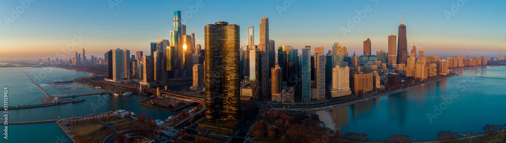 Fototapeta Chicago Skyline Lake Shore Panorama Sunrise Aerial 9