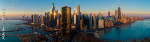 Chicago Skyline Lake Shore Panorama Sunrise Aerial 9 - 313139424