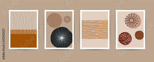 Obraz Contemporary abstract shapes poster set. Modern geometric vector flat line elements, art print templates. Collage illustration for invitations, flyers, poster, magazine cover, packaging - fototapety do salonu
