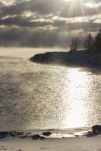 Steam Over Lake Superior During Sunrise