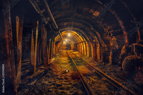 Fotografie, Obraz Underground mining tunnel with rails