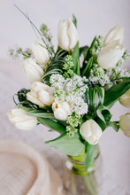 Bouquet Of White Tulips With L...