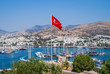 Aerial view from Bodrum fortress historical fortification located in the port city of Bodrum, Turkey