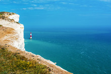 Beachy Head, Walk To The Lighthouse Near Eastbourne, England, Seven Sisters National Park, UK, Selective Focus