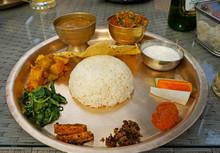 Traditional Nepali Thali Set In The Restaurant In Kathmandu, Nepal