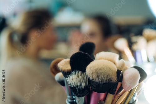 Cuadros en Lienzo Close up macro photo of professional makeup brushes